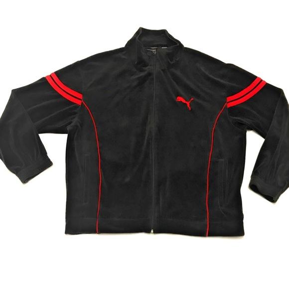 Vintage Puma Velour Athletic Track Jacket Black